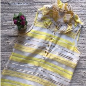 KATE SPADE Silk Yellow/Gold/White Striped Top S